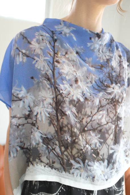 Anntian Silk Top Print Into The Sky