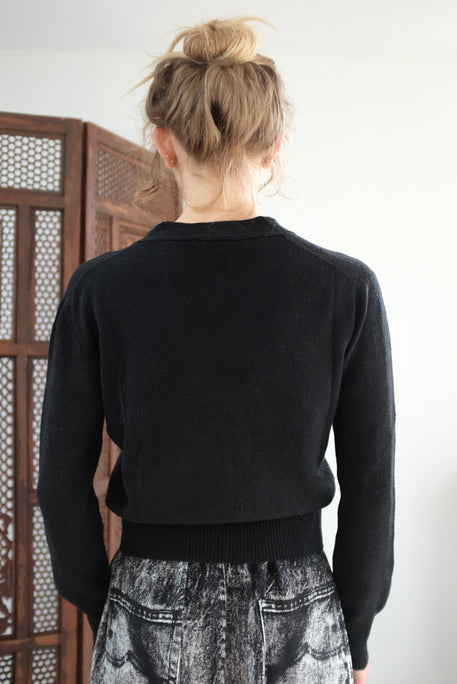 Beklina Cotton Knit Cardigan Black