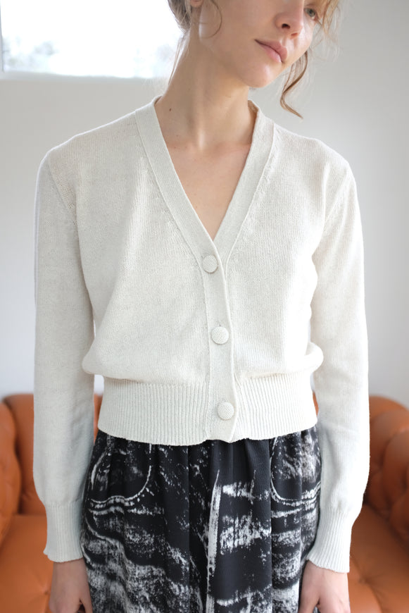 Beklina Cotton Knit Cardigan White