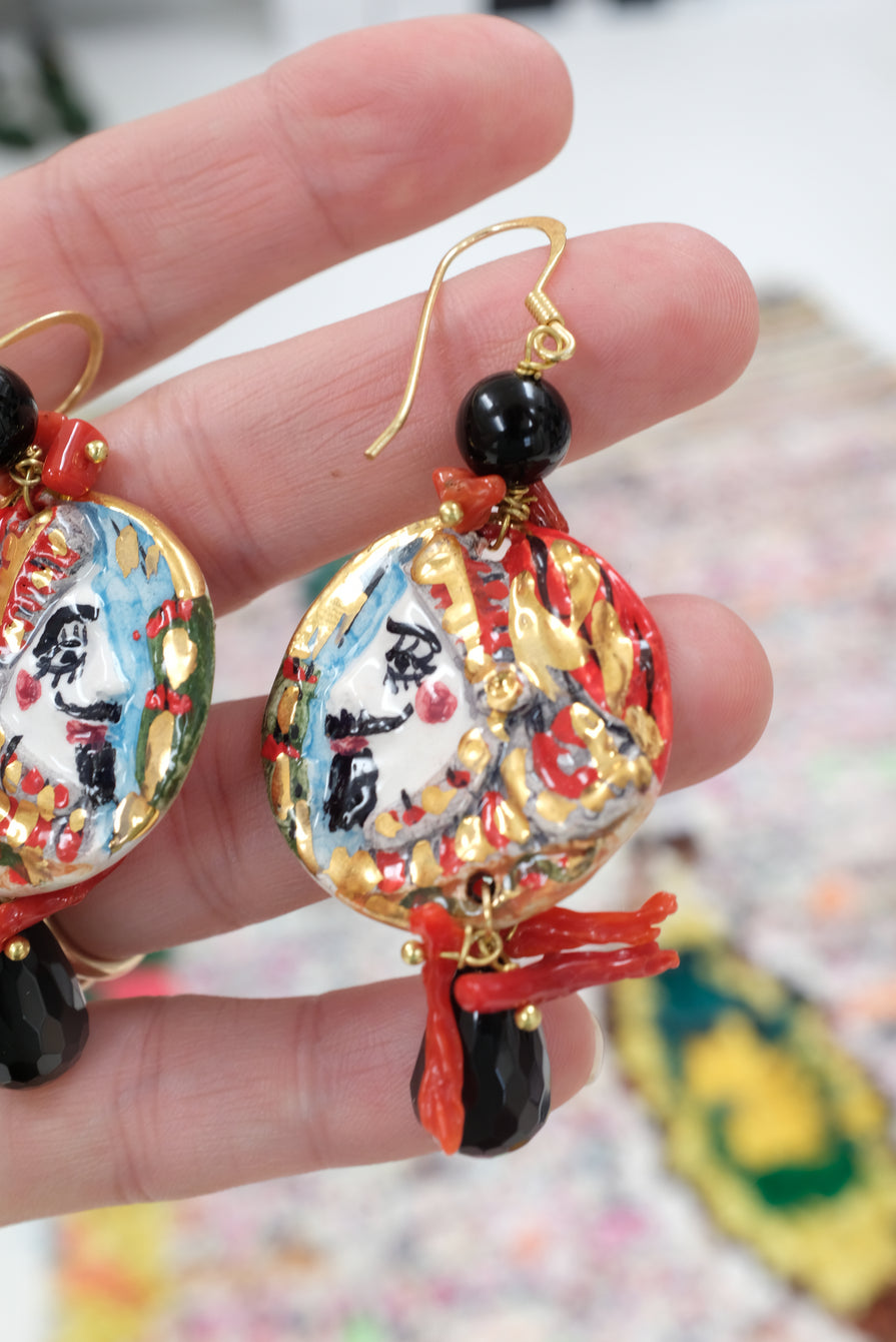 Italian Hand Painted Ceramic Earrings Faces