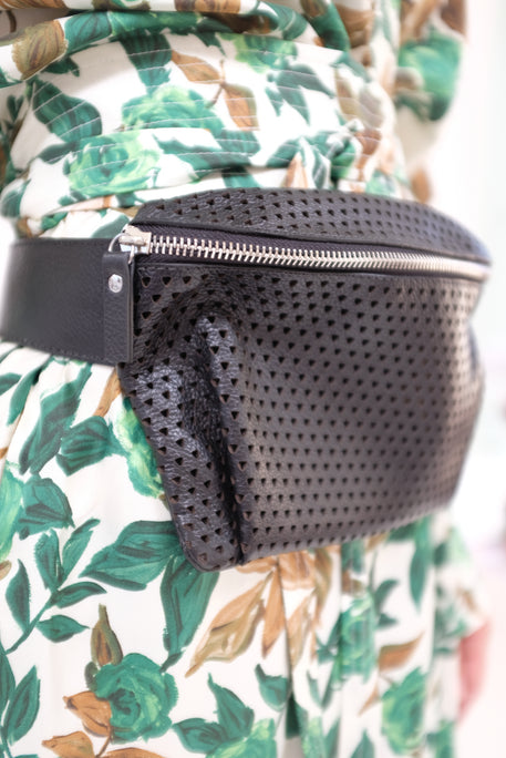 Rachel Comey Hagen Fanny Pack Punched Leather Black
