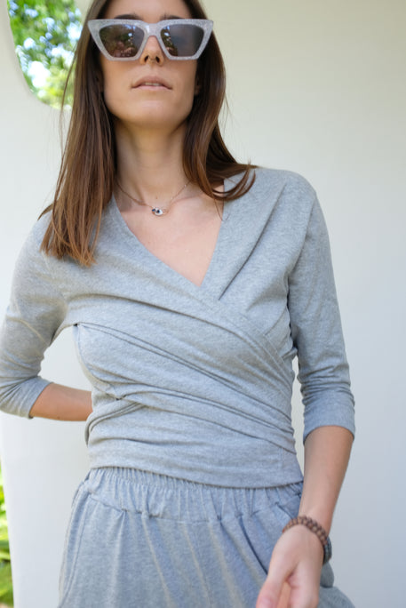 Beklina Kudu Wrap Top Heathered Grey