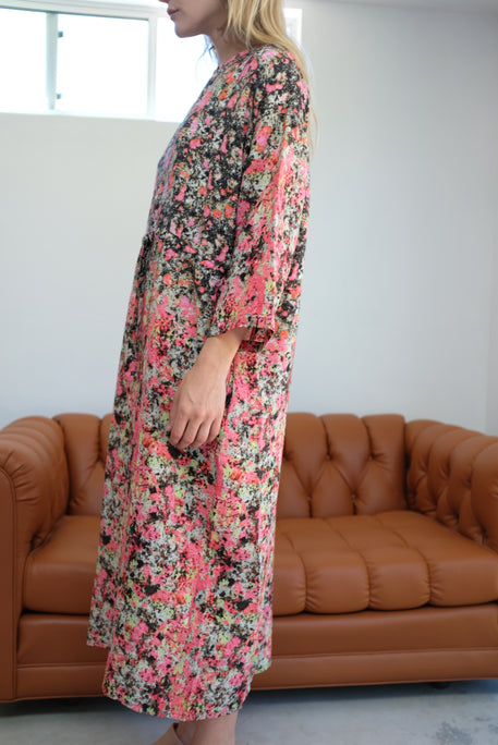 Anntian Silk Simple Dress Print L Pink
