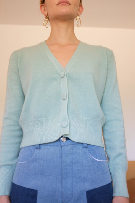Beklina Cashmere Cardigan Sweater Mint