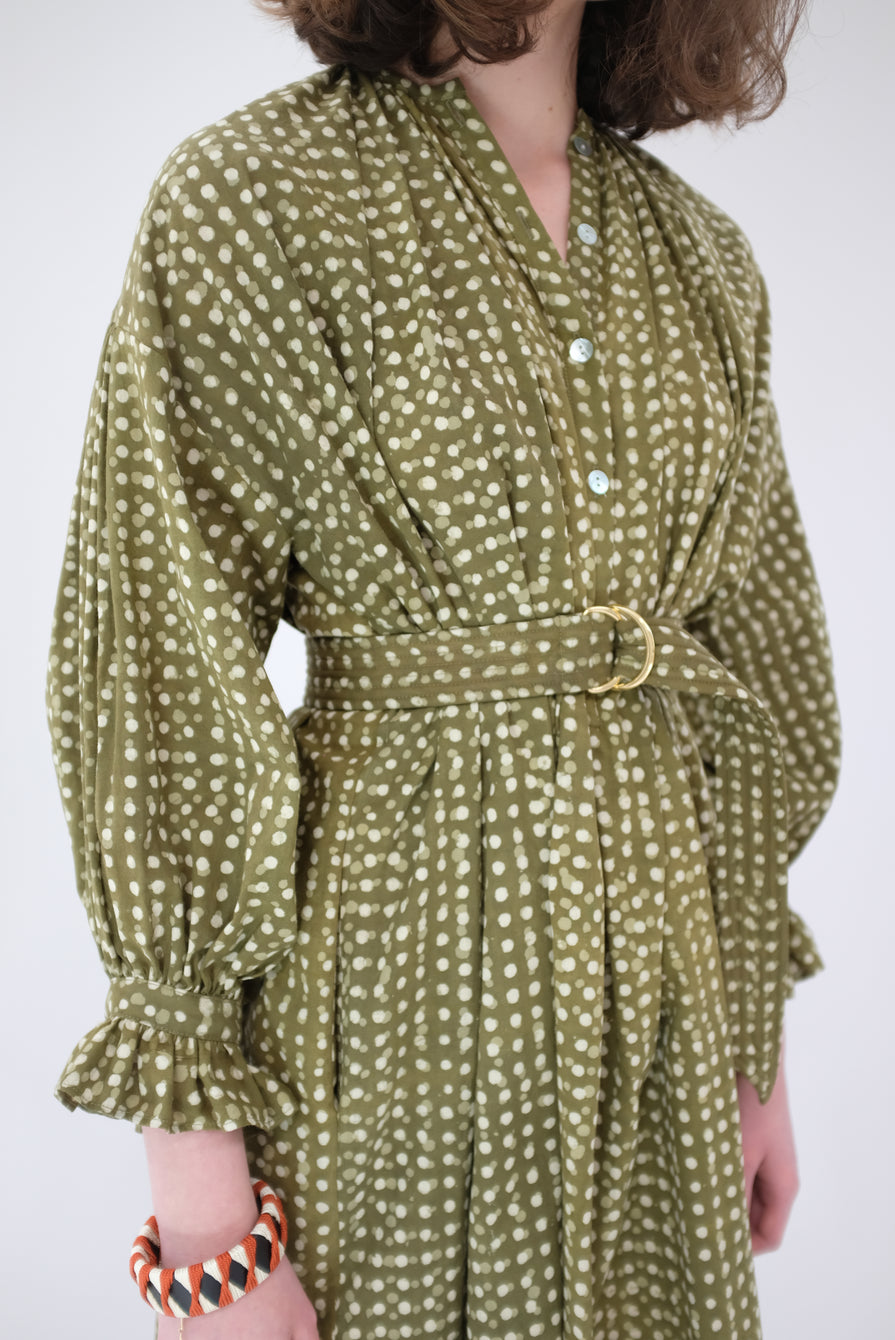 Heinui Dino Dress Olive Green Dots