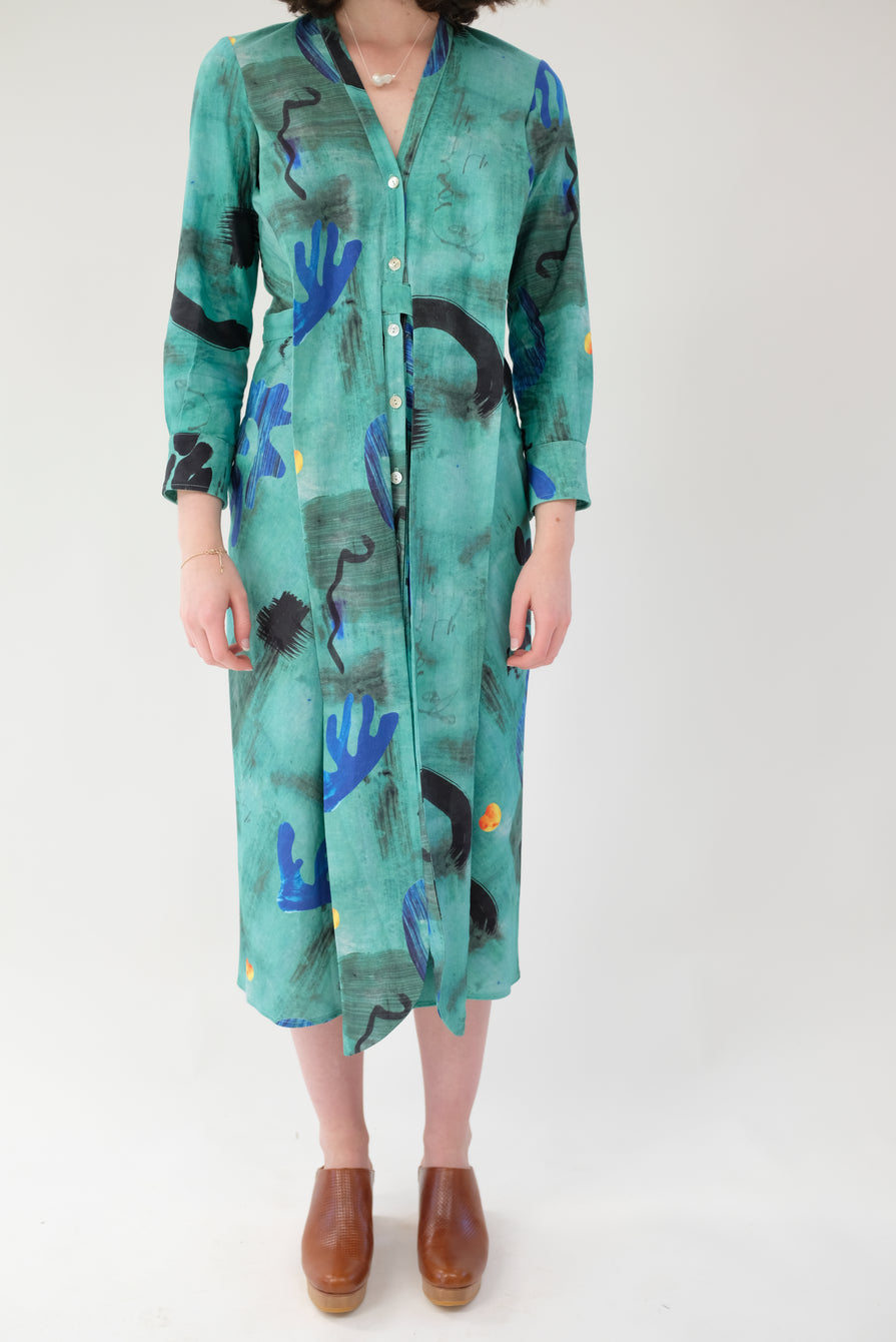 Heinui Leonard Dress Green Collage Print