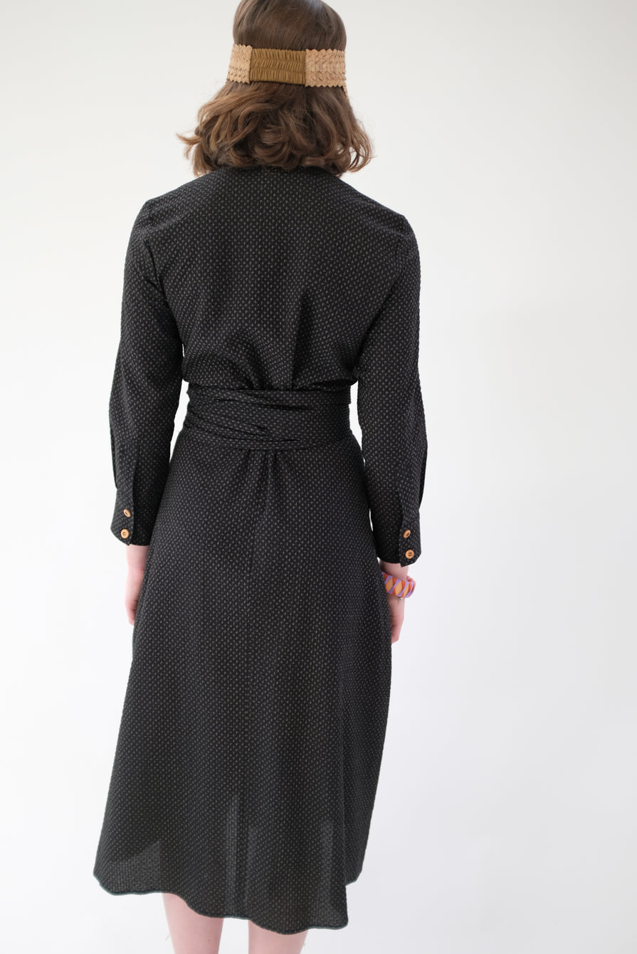 Heinui Leonard Dress Black Seersucker