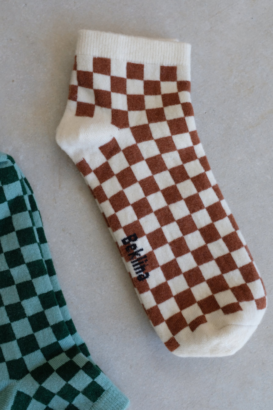 Beklina Cashmere Checkerboard Socks