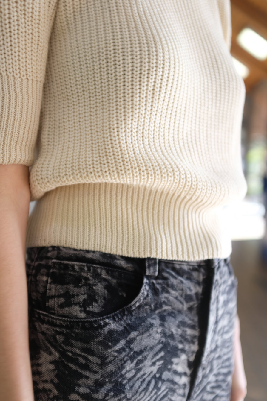 Beklina Hand Knit Story Top Straw