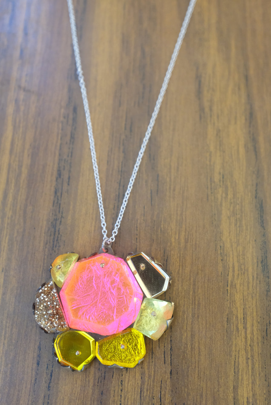 Nikki Couppee Fuchsia/Gold Necklace