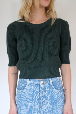 Beklina Hand Knit Story Top Pine