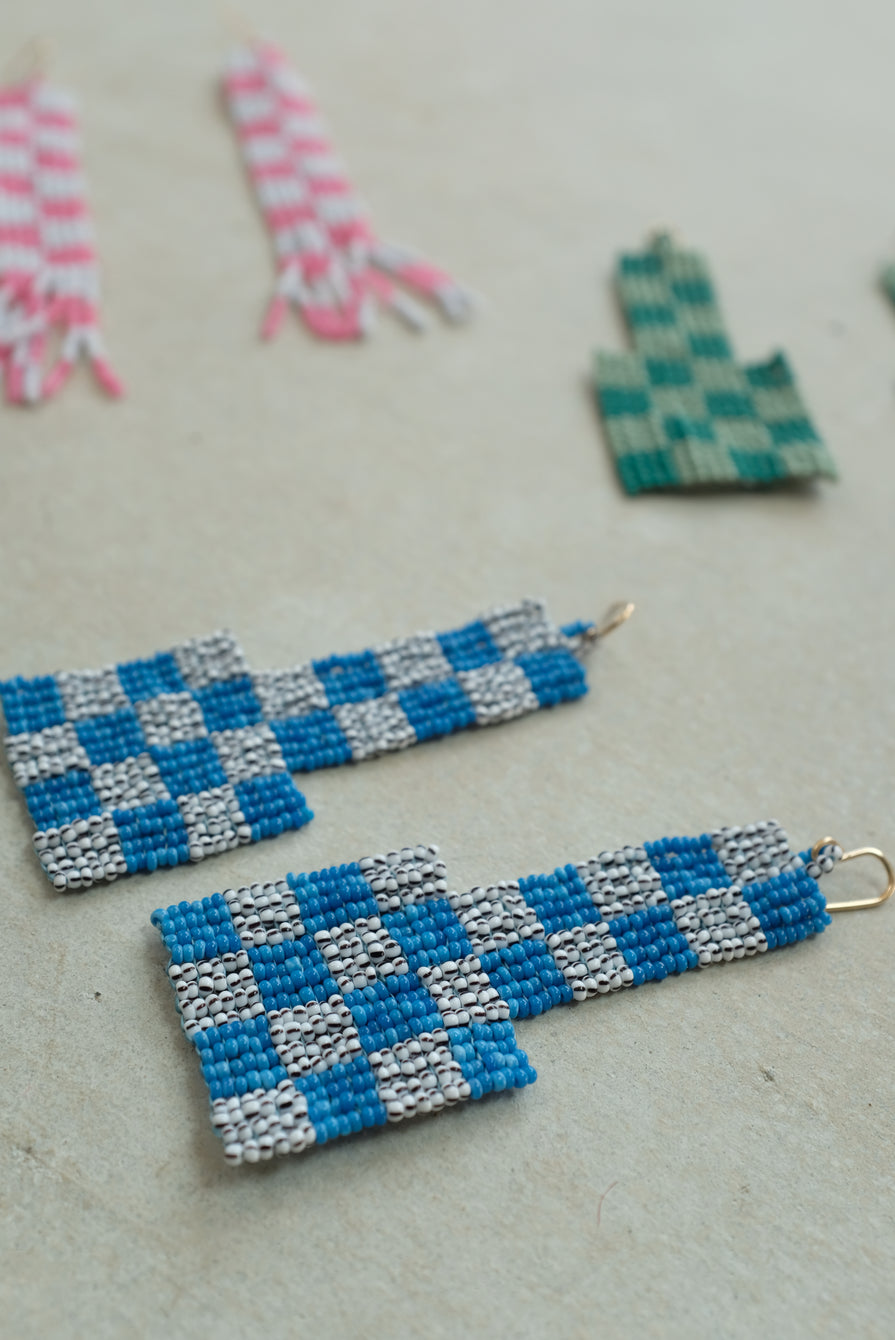 Checkerboard Beaded Earrings Blue