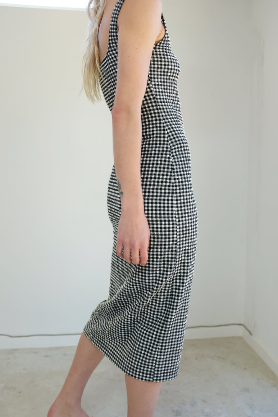Maryam Nassir Zadeh Salma Dress Stretch Gingham Black