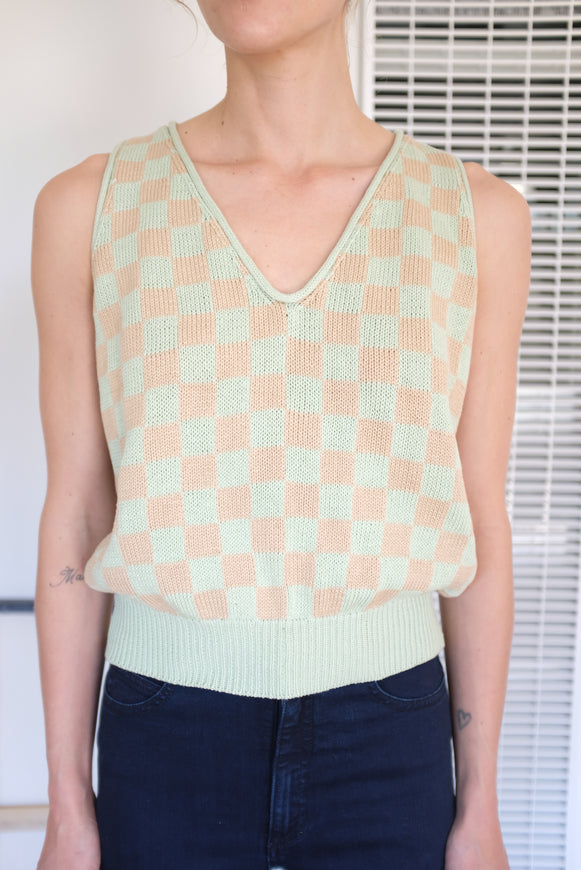 Beklina Knit Check Tank Mint Toast