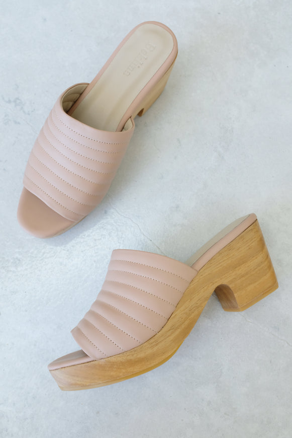 Beklina Ribbed Clog Open Toe Nude