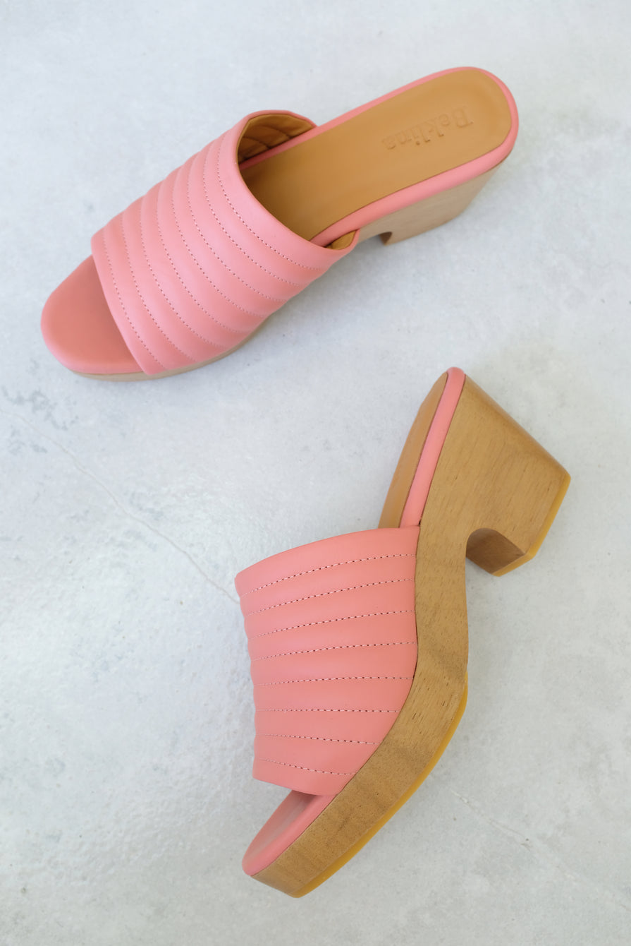 Beklina Ribbed Clog Open Toe Blush