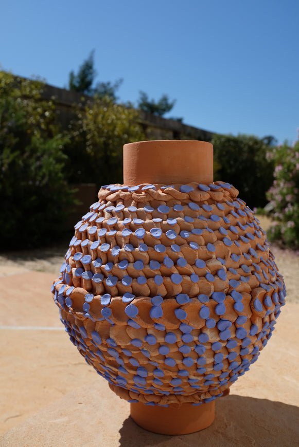 Bari Ziperstein Large Terracotta Dot Vase