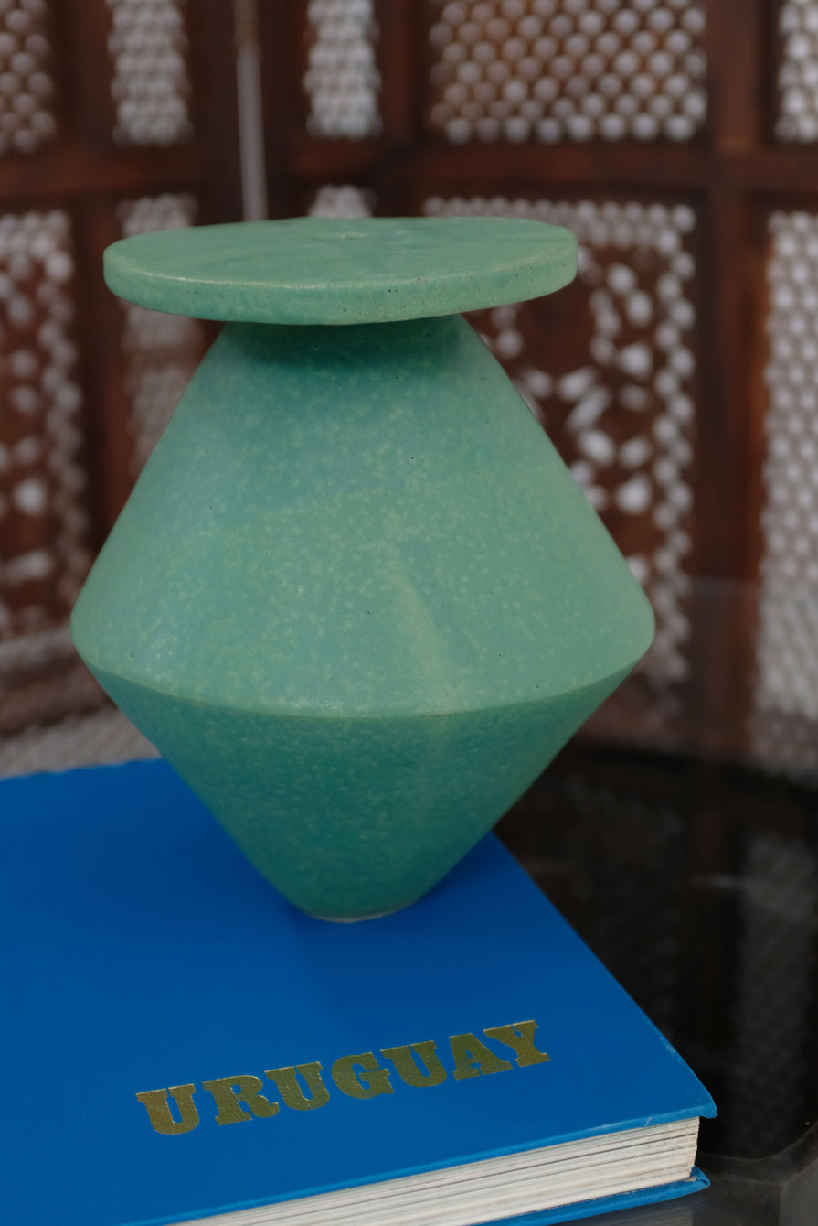 Bari Ziperstein Large Diamond Vase Green