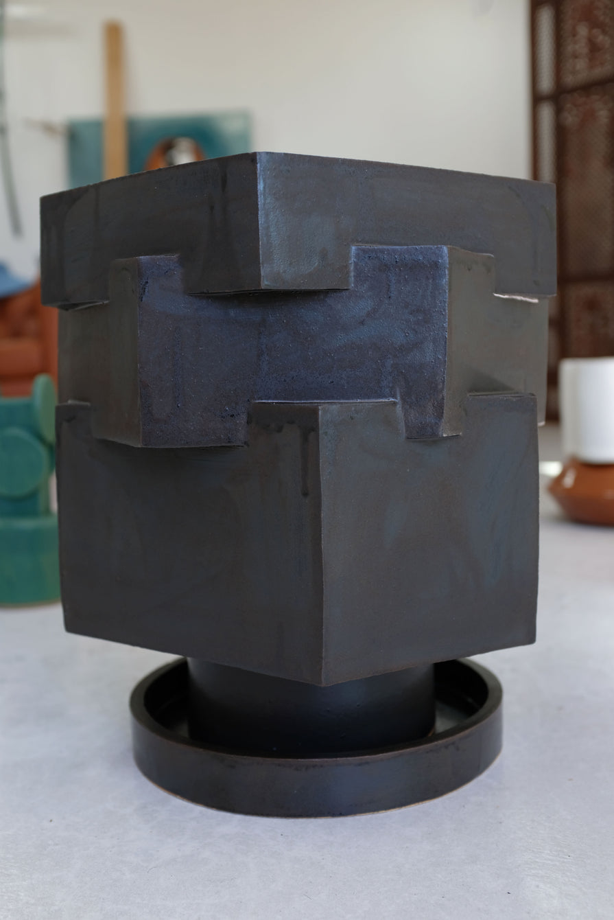 Bari Ziperstein Large Contemporary Ceramic Black Hexagon Planter