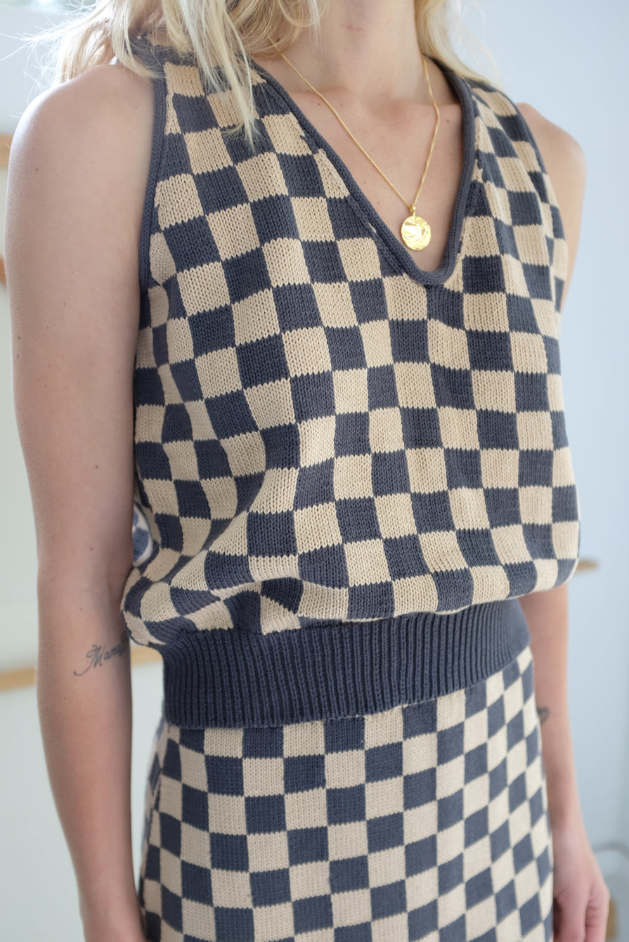 Beklina Knit Check Tank Charcoal