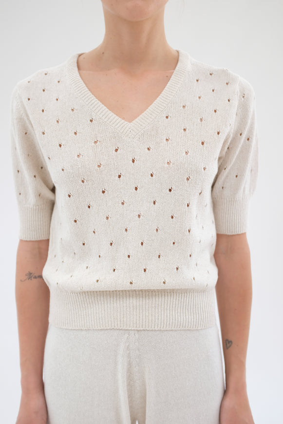 Beklina Paracas Knit Top White