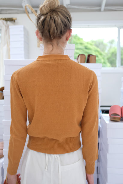 Beklina Cotton Knit Cardigan Ginger