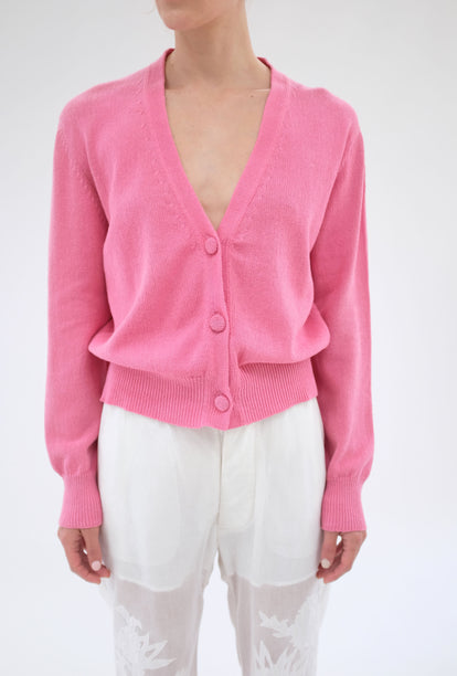 Beklina Cotton Knit Cardigan Piñata Pink