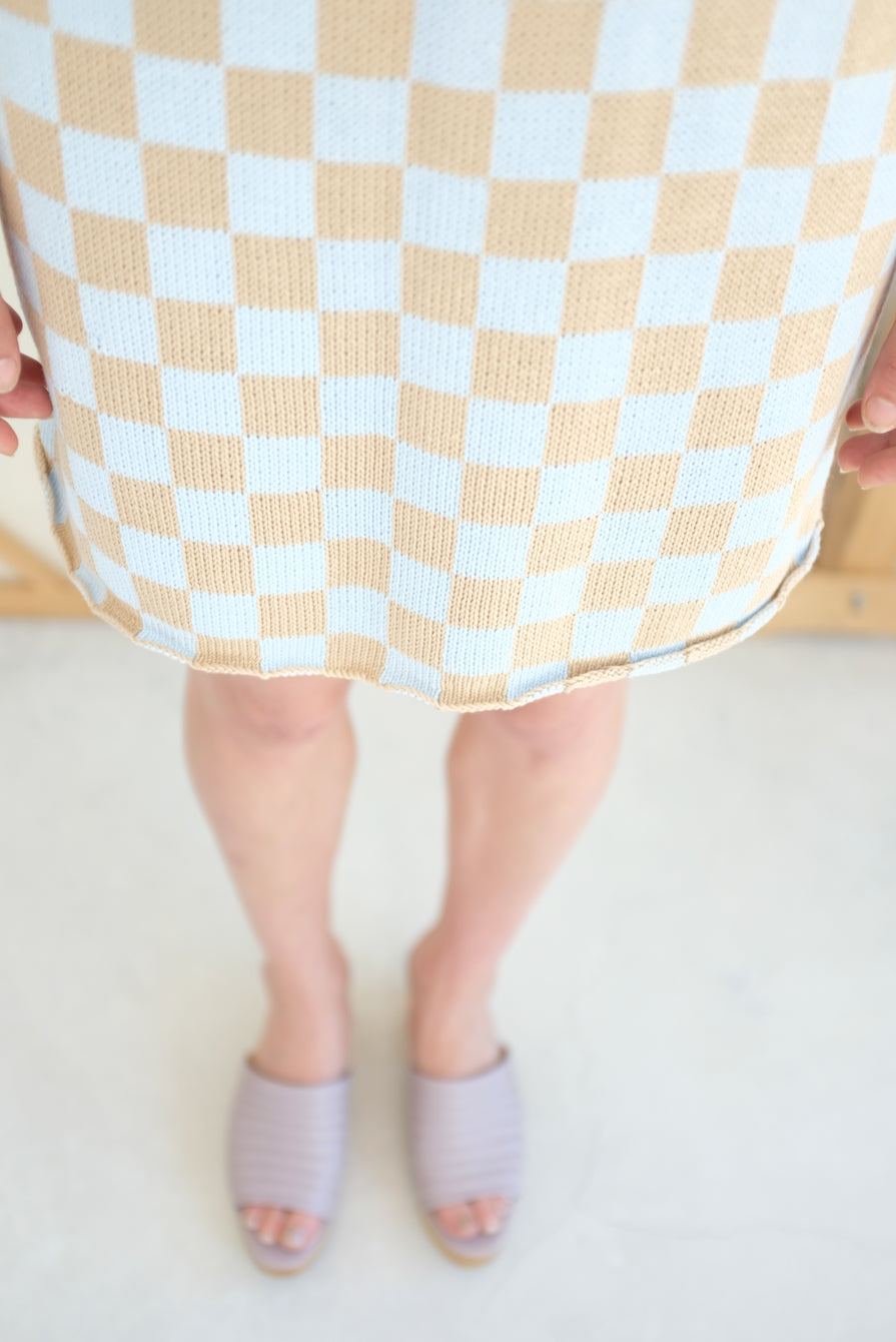 Beklina Knit Check Skirt Sky Blue