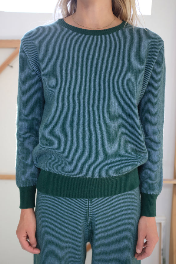 Beklina Cashmere Ribbed Crew Sweater Lake