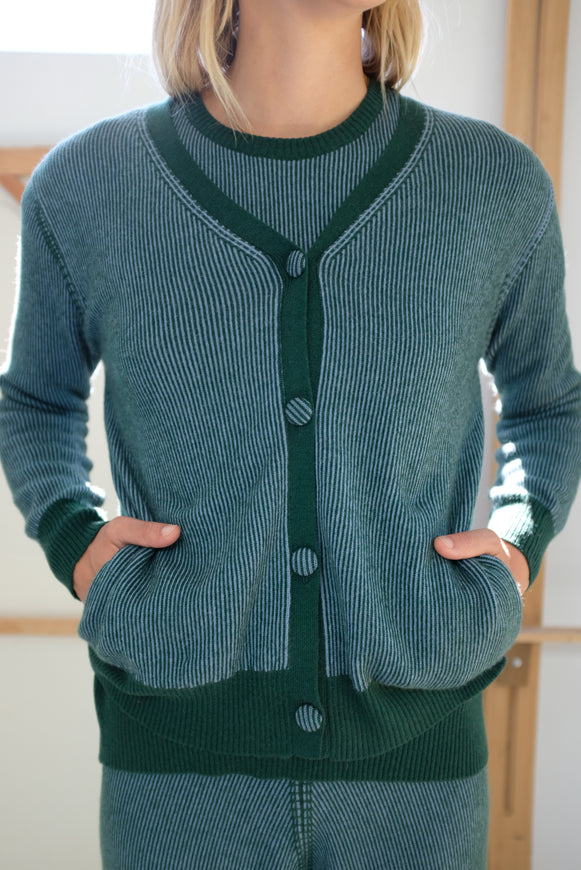 Beklina Cashmere Ribbed Cardigan Lake