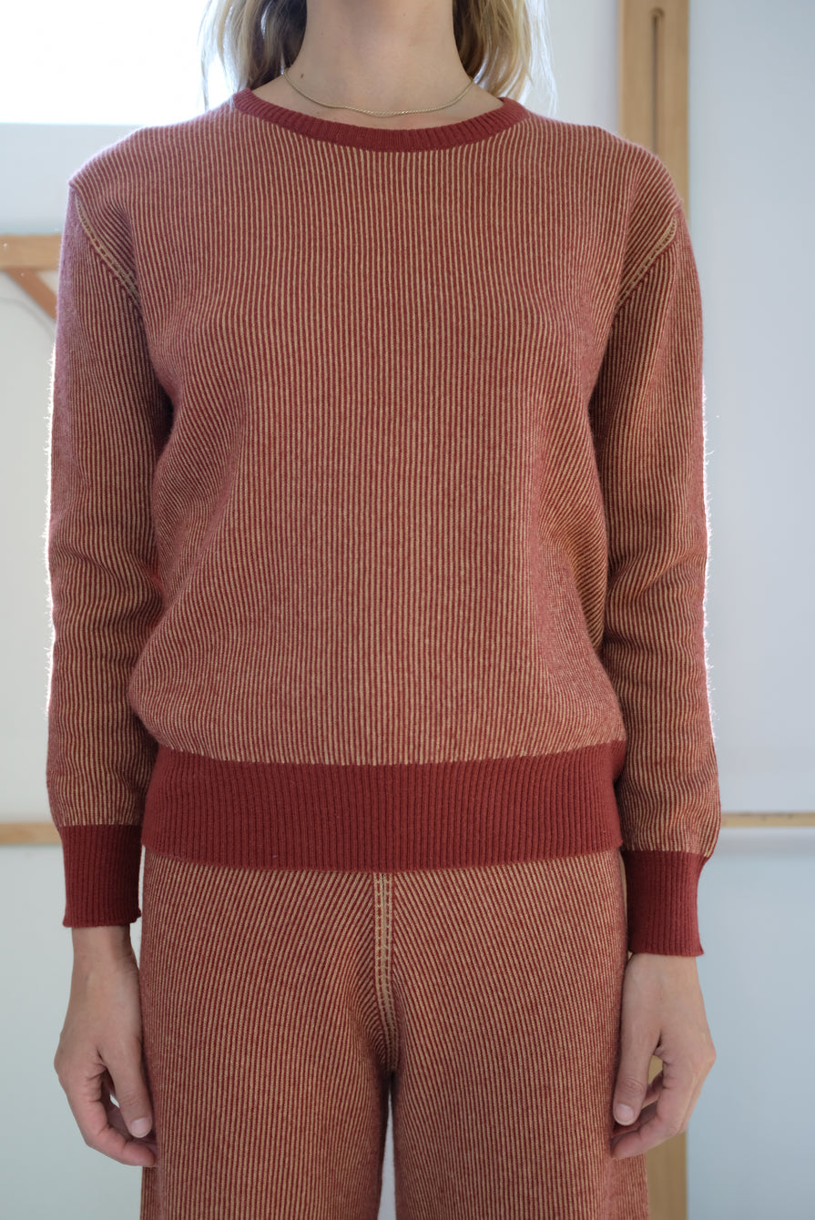 Beklina Cashmere Ribbed Crew Sweater Rust/Gold
