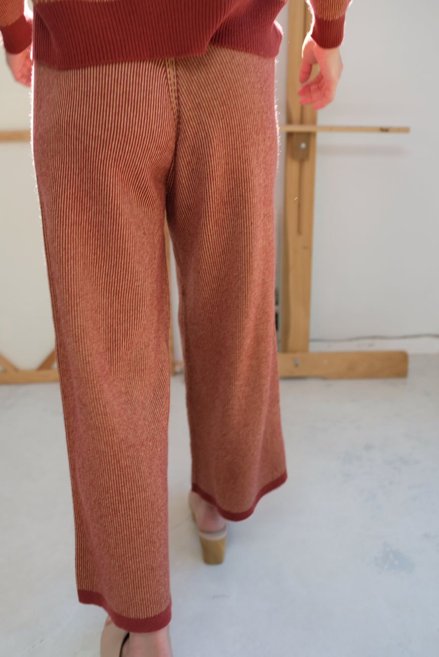 Beklina Cashmere Ribbed Trouser Rust/Gold