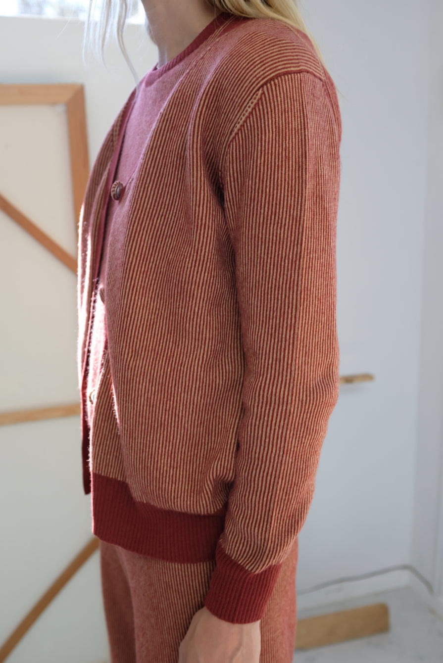 Beklina Cashmere Ribbed Cardigan Rust/Gold