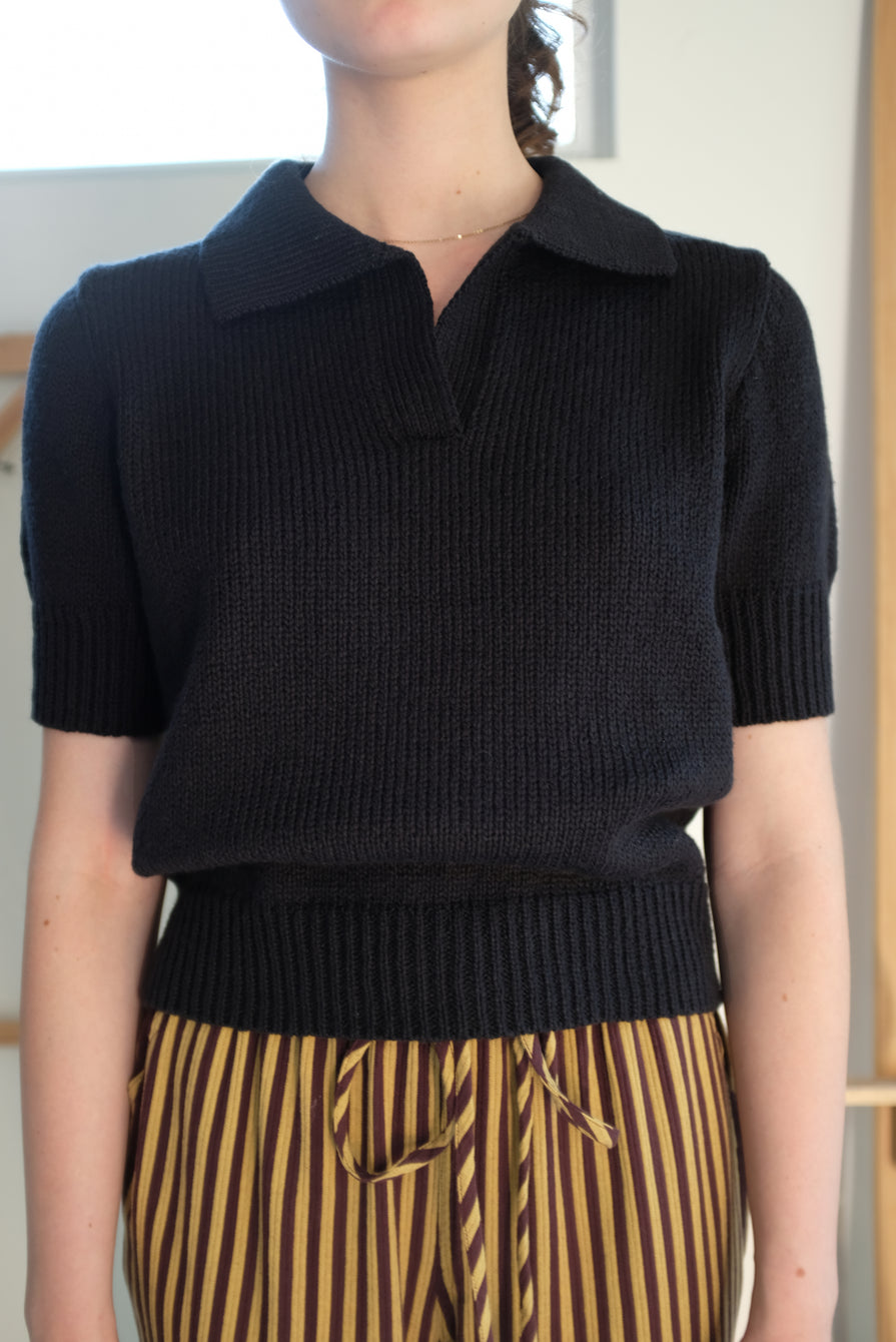 Beklina Knit Polo Licorice