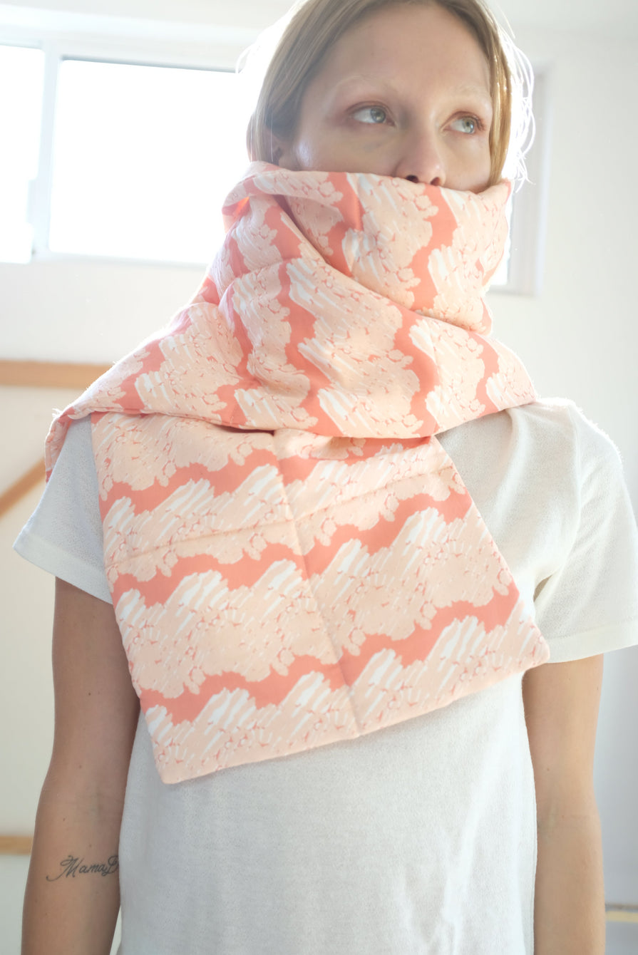 Beklina Quilted Scarf French Ribbon Coral