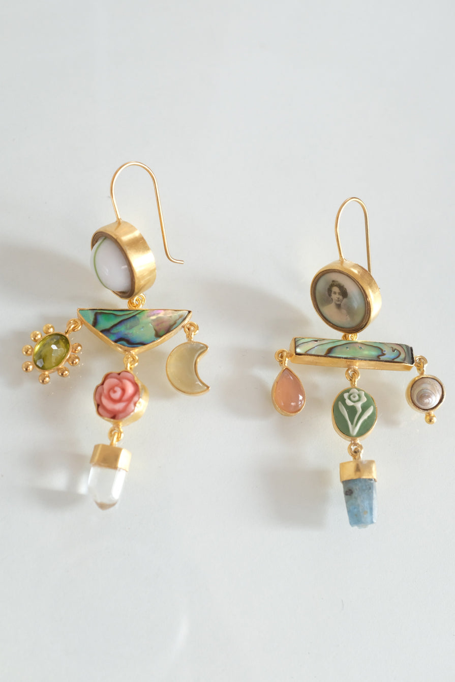 Grainne Morton Pink/Green Balance Drop Earrings