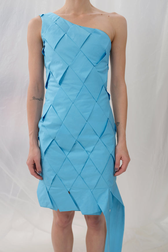 Mozh Mozh Checkered Colibri Dress Azul