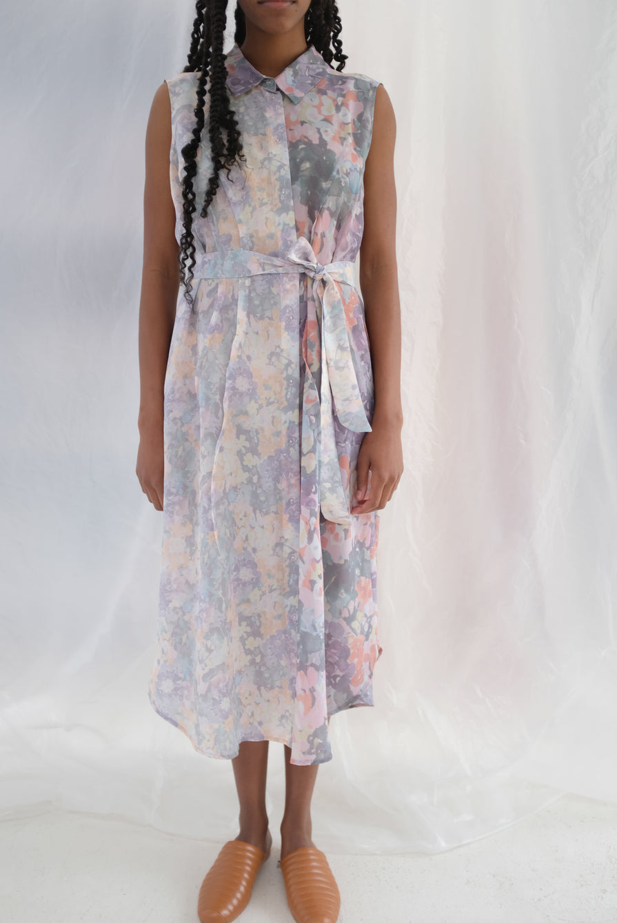 Anntian Silk Pale Flower Bouquet Dress Print H2/3