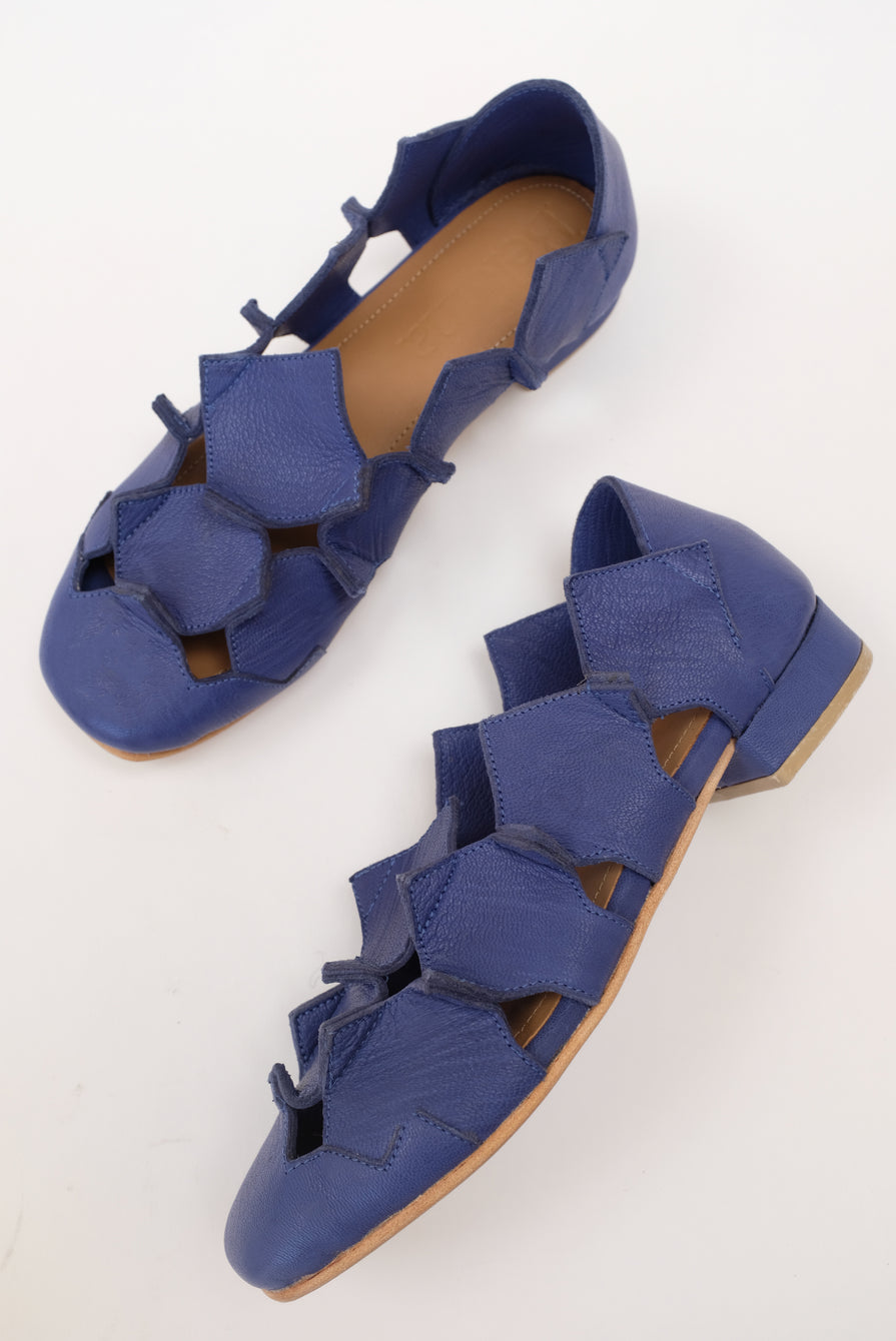 Beklina Square Pieced Flats Blue