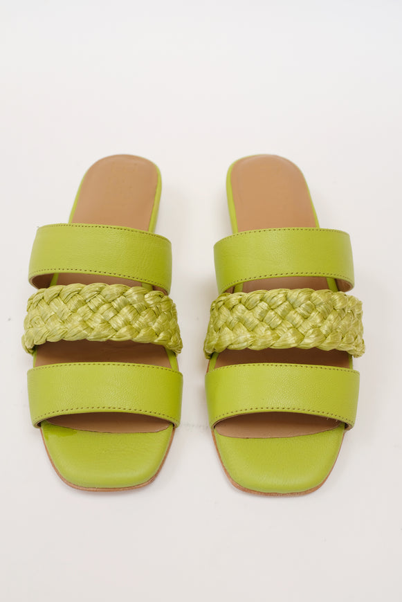 Beklina Braided Flat Sandals Lime