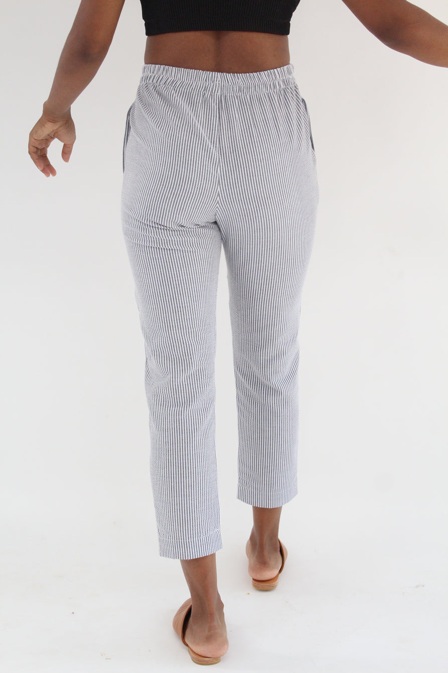 Beklina Basic Pant Seersucker Charcoal