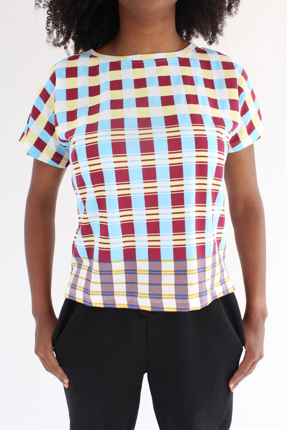 Epice Square Plaid T-Shirt Swimming Pool