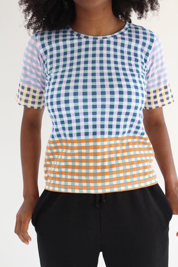 Epice Square Plaid T-Shirt Beach