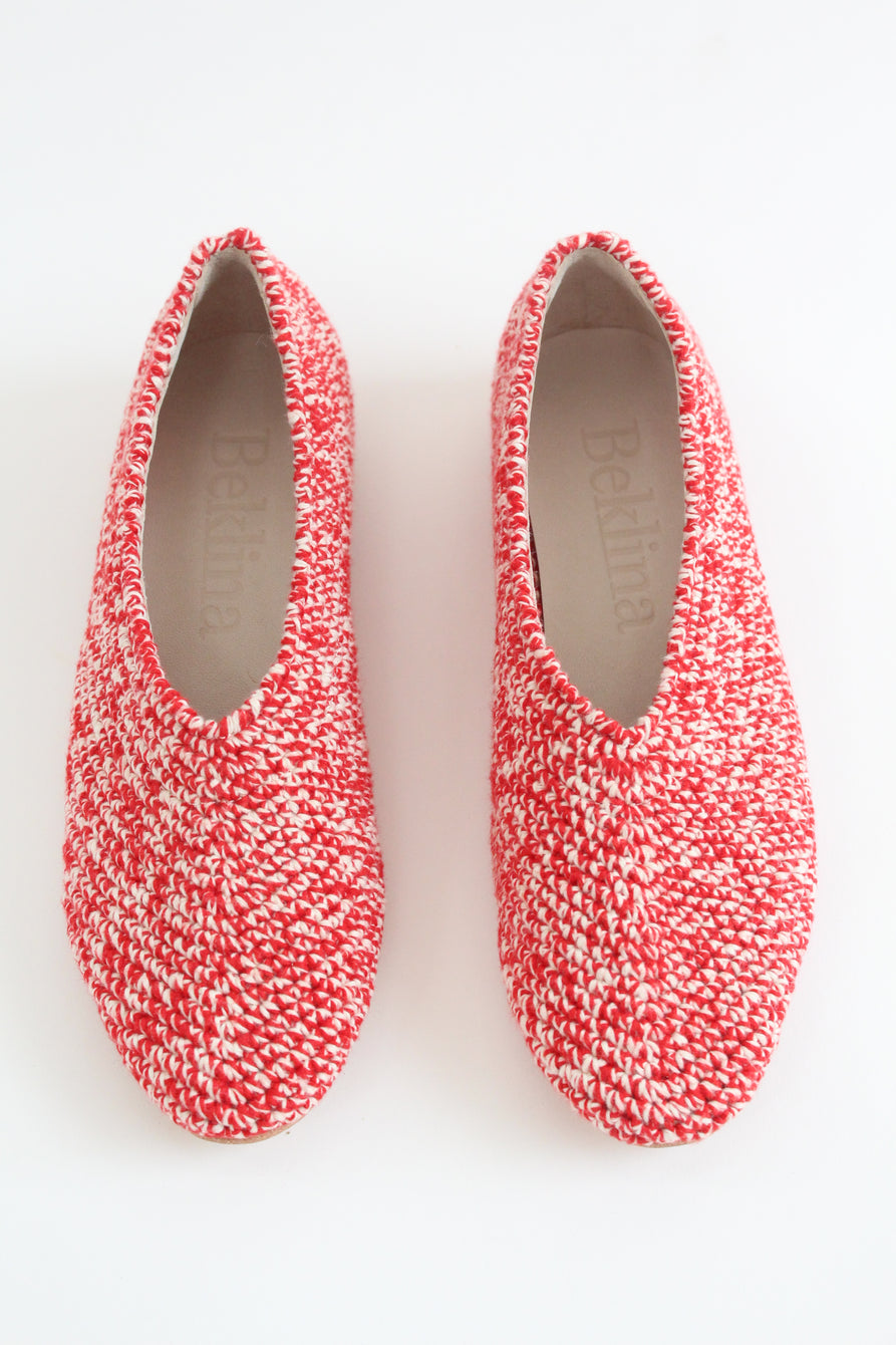 Beklina Crochet Ballet Flats Red/White