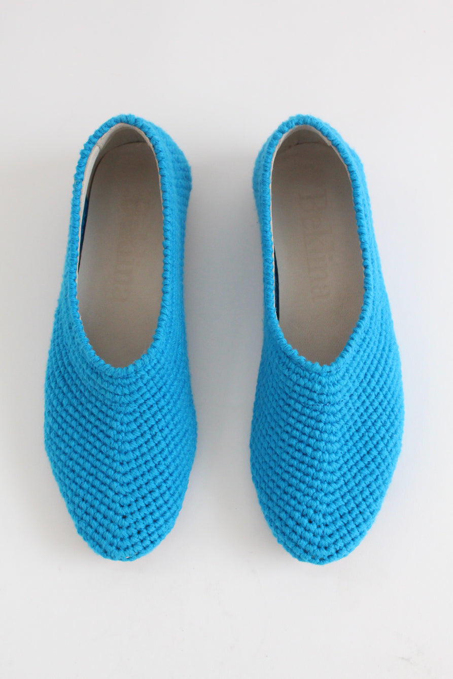 Beklina Crochet Ballet Flats Greek Blue