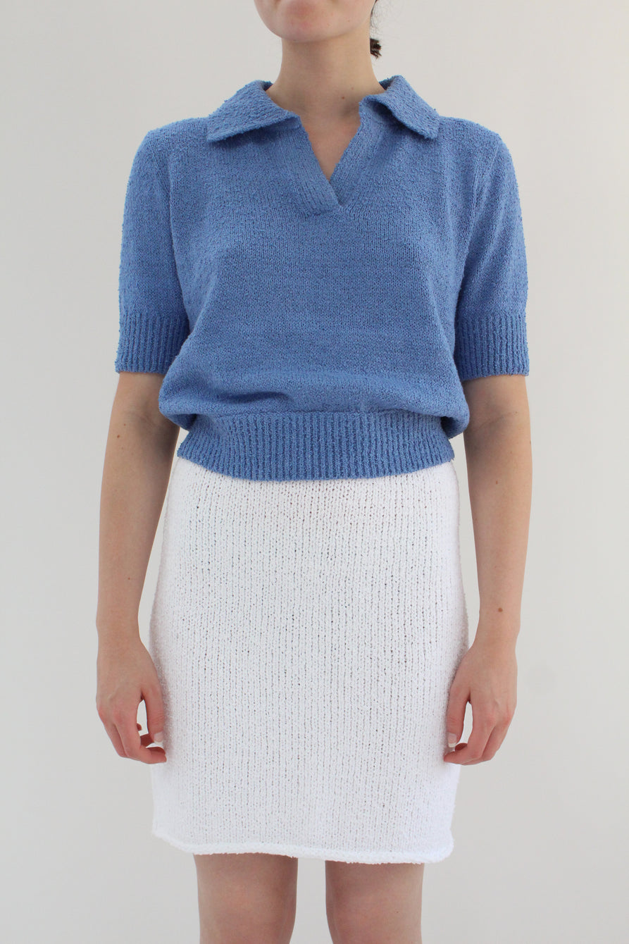 Beklina Bouclé Knit Skirt White