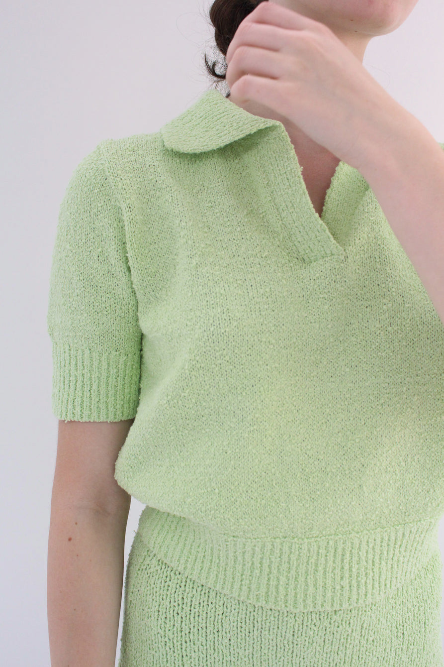 Beklina Bouclé Knit Polo Mint