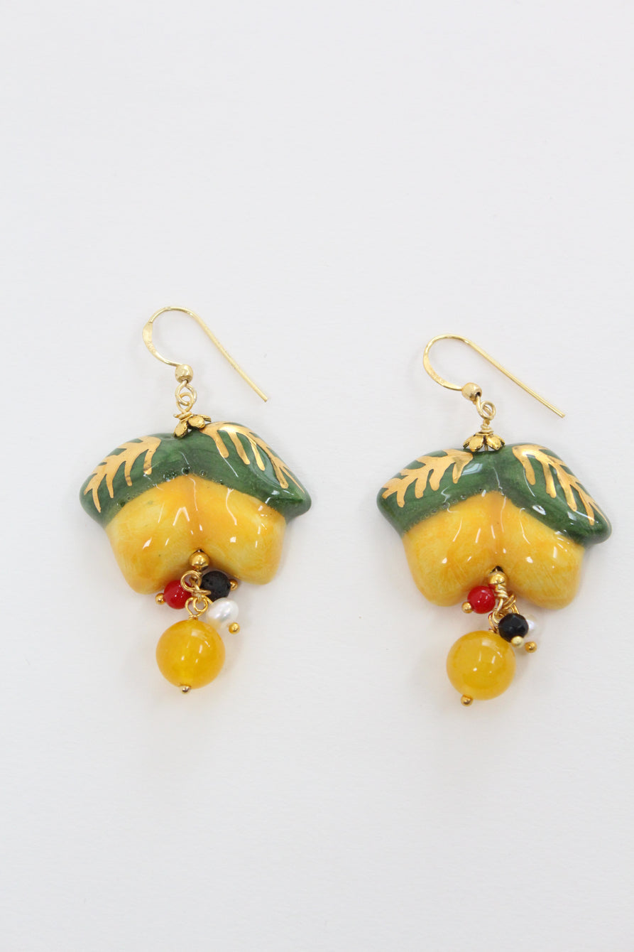 Italian Hand Painted Ceramic Earrings Lemons