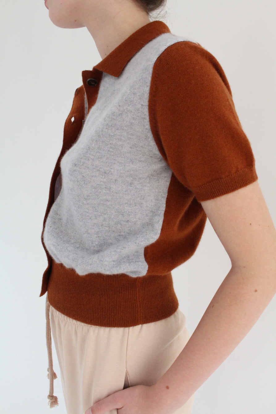 Beklina Fern Sweater Blouse Grey/Chocolate