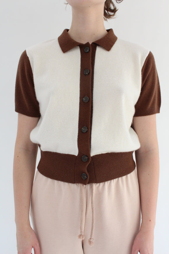 Beklina Fern Sweater Blouse Ivory/Chocolate